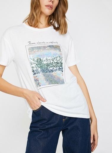 Koton Koton Pul Payet Detaylı Bisiklet Yaka T-Shirt Beyaz